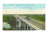 Davis  California - Causeway over Yolo Basin Towards Sacramento