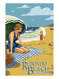 Redondo Beach  California - Woman on the Beach