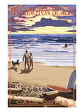Huntington Beach  California - Sunset Beach Scene