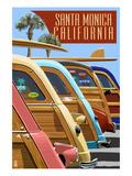 Santa Monica  California - Woodies Lined Up
