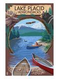 Lake Placid  New York - Adirondacks Canoe Scene
