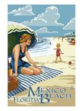 Mexico Beach  Florida - Woman and Beach Scene