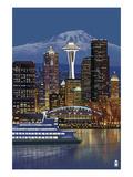 Seattle  Washington at Night - Image Only