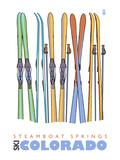Steamboat Springs  Skis in Snow