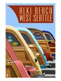 Alki Beach  West Seattle  WA - Woodies Lined Up