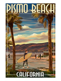 Pismo Beach  California - Surfer and Pier