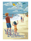 York Beach  Maine - Children with Kites