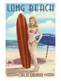 Long Beach  California - Pinup Surfer Girl