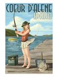 Coeur D'Alene  Idaho - Fishing Pinup Girl