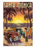 Santa Monica  California - Woodies and Sunset