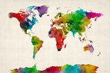 Watercolor Map of the World Map Reproduction d'art par Michael Tompsett