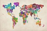 Carte du monde typographique  Reproduction d'art par Michael Tompsett