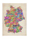 Text Map of Germany Map Reproduction d'art par Michael Tompsett