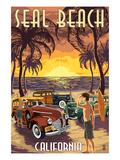 Seal Beach  California - Woodies and Sunset
