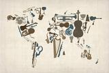 Musical Instruments Map of the World Giclée premium par Michael Tompsett
