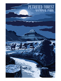 Wolves and Full Moon - Petrified Forest National Park