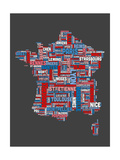 City Text Map of France Reproduction d'art par Michael Tompsett