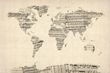 Map of the World Map from Old Sheet Music Reproduction d'art par Michael Tompsett