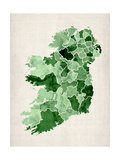 Ireland Watercolor Map Reproduction d'art par Michael Tompsett