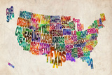 United States Text Map Reproduction d'art par Michael Tompsett