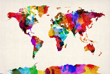 Map of the World Map Abstract Painting Reproduction d'art par Michael Tompsett