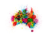 Australia Paint Splashes Map Reproduction d'art par Michael Tompsett