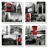 London Red Collage Tableau multi toiles