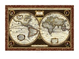 Decorative World Map Reproduction d'art par Vision Studio