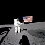 Apollo 14 Astronaut Alan B Shepard Stands by the US Flag on the Lunar Fra Mauro Highlands
