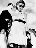 Jacqueline Kennedy  Wearing a White Coat Dress with a Short Skirt