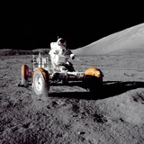 Apollo 17 Astronaut Eugene a Cernan Driving the Lunar Rover