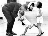Pres John Kennedy and Children  John Jr and Caroline at Squaw Island  Massachusetts  Aug 23  1963