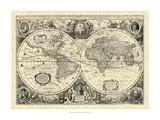Vintage World Map Reproduction d'art