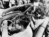 Pres Kennedy Drives an Open Car in Newport  Rhode Island