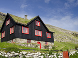 Old Farm House with Sod Roof  Kirkjubor Village  Faroe Islands  Denmark