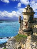 Watchtower, Fort San Felipe Del Morro, San Juan, Puerto Rico, USA, Caribbean Papier Photo par Miva Stock
