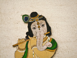 Mural Depicting Ganesha  a Hindu Deity  Inside City Palace  Udaipur  Rajasthan  India