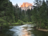 Half Dome with Sunset over Merced River  Yosemite  California  USA