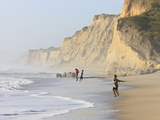 Kids Playing on Beach  Santa Cruz Coast  California  USA