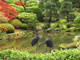 Heron Sculptures in the Portland Japanese Garden  Portland Japanese Garden  Portland  Oregon  USA