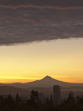 Dawn Sky over Portland and Mt Hood  Oregon  USA
