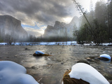 Merced River  El Capitan in Background  Yosemite  California  USA