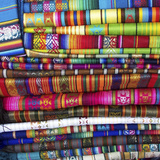 Colorful Blankets at Indigenous Market in Pisac  Peru