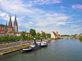 Old Town Skyline with St Peter's Cathedral and Danube River  Regensburg  Germany