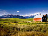 Red Barn in Field Near Joseph  Wallowa County  Oregon  USA