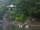 Pavilion with Lake in the Mountain  Tiantai Mountain  Zhejiang Province  China
