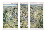 """Map of Paris During the Period of the """"Grands Travaux"""" by Baron Georges Haussmann 1864"""