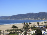 Beach  Santa Monica  Malibu Mountains  Los Angeles  California  Usa
