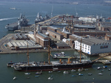 View of Historic Docks from Spinnaker Tower  Portsmouth  Hampshire  England  United Kingdom  Europe