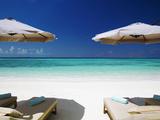 Deck Chairs and Tropical Beach  Maldives  Indian Ocean  Asia